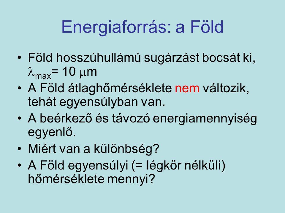 Energiaforrás: a Föld Föld hosszúhullámú sugárzást bocsát ki, max = 10  m A Föld átlaghőmérséklete nem változik, tehát egyensúlyban van. A beérkező é