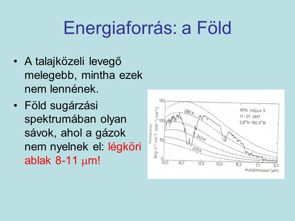Energiaforrás: a Föld A talajközeli levegő melegebb, mintha ezek nem lennének. Föld sugárzási spektrumában olyan sávok, ahol a gázok nem nyelnek el: l