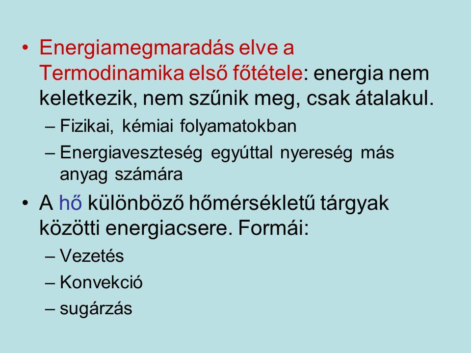 Energiamegmaradás elve a Termodinamika első főtétele: energia nem keletkezik, nem szűnik meg, csak átalakul. –Fizikai, kémiai folyamatokban –Energiave