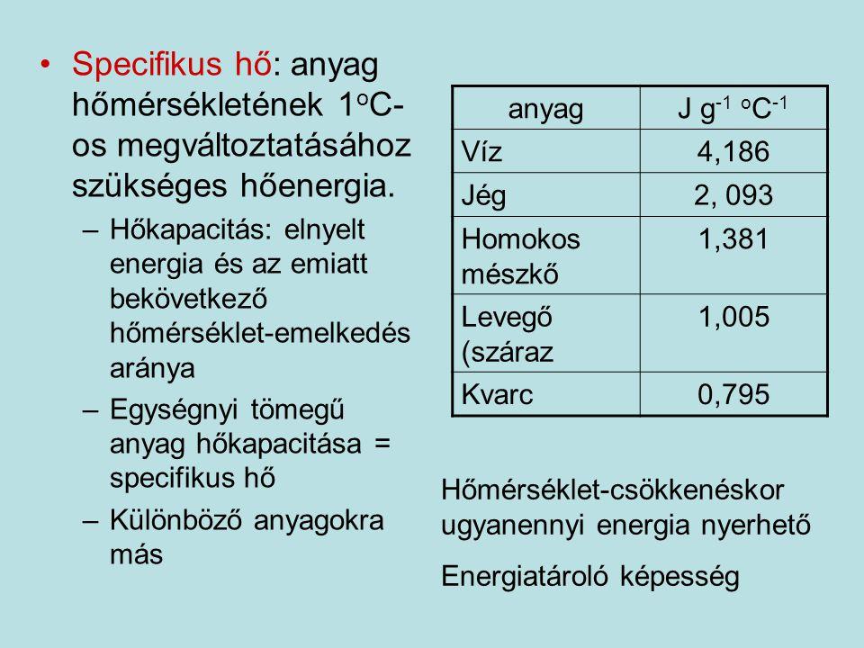 Specifikus hő: anyag hőmérsékletének 1 o C- os megváltoztatásához szükséges hőenergia. –Hőkapacitás: elnyelt energia és az emiatt bekövetkező hőmérsék