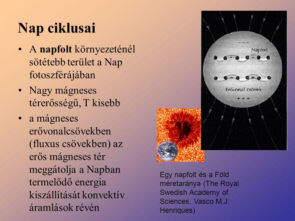 Nap ciklusai A napfolt környezeténél sötétebb terület a Nap fotoszférájában Nagy mágneses térerősségű, T kisebb a mágneses erővonalcsövekben (fluxus c