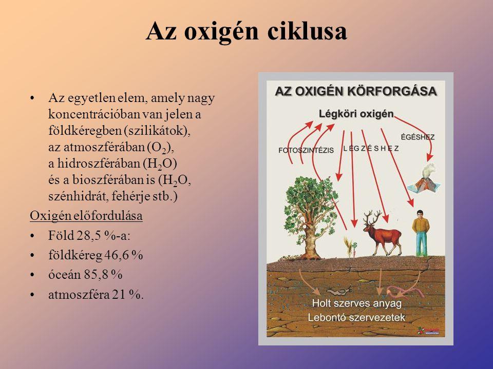 Az oxigén ciklusa Az egyetlen elem, amely nagy koncentrációban van jelen a földkéregben (szilikátok), az atmoszférában (O 2 ), a hidroszférában (H 2 O
