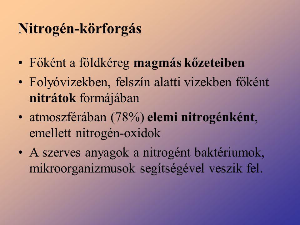 Nitrogén-körforgás Főként a földkéreg magmás kőzeteiben Folyóvizekben, felszín alatti vizekben főként nitrátok formájában atmoszférában (78%) elemi ni