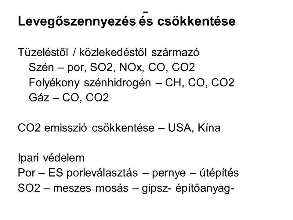 - Levegőszennyezés és csökkentése Tüzeléstől / közlekedéstől származó Szén – por, SO2, NOx, CO, CO2 Folyékony szénhidrogén – CH, CO, CO2 Gáz – CO, CO2 CO2 emisszió csökkentése – USA, Kína Ipari védelem Por – ES porleválasztás – pernye – útépítés SO2 – meszes mosás – gipsz- építőanyag-