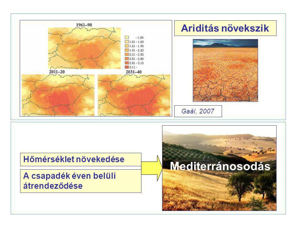 Ariditás növekszik Hőmérséklet növekedése A csapadék éven belüli átrendeződése Mediterránosodás Gaál, 2007