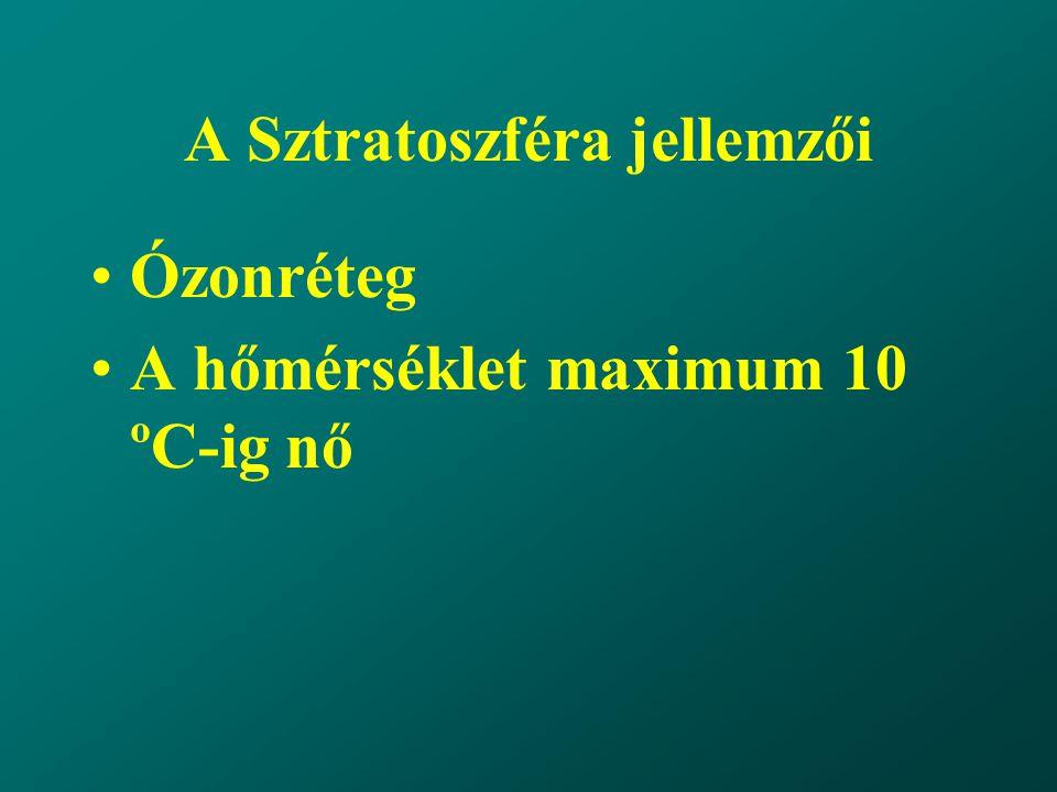 A Sztratoszféra jellemzői Ózonréteg A hőmérséklet maximum 10 ºC-ig nő