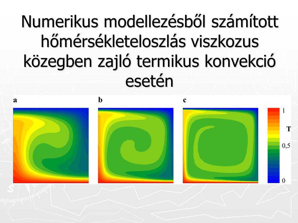 Numerikus modellezésből számított hőmérsékleteloszlás viszkozus közegben zajló termikus konvekció esetén