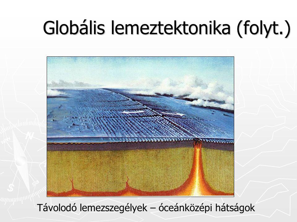 Globális lemeztektonika (folyt.) Távolodó lemezszegélyek – óceánközépi hátságok