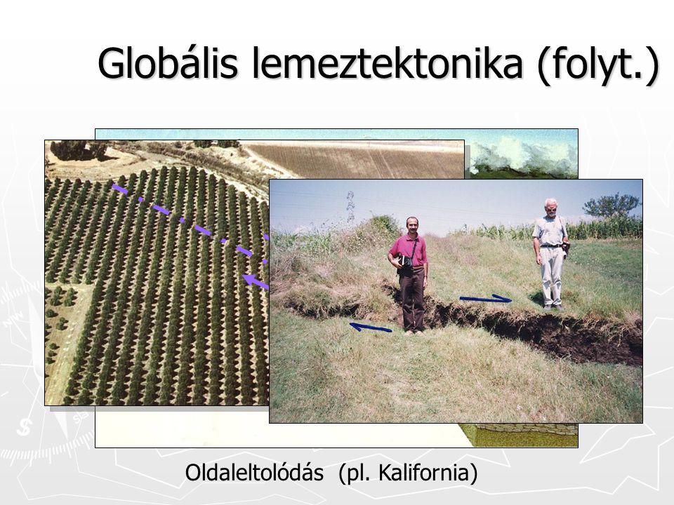 Globális lemeztektonika (folyt.) Oldaleltolódás (pl. Kalifornia)