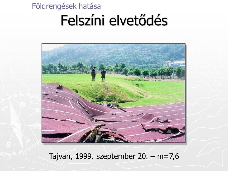 Felszíni elvetődés Földrengések hatása Tajvan, 1999. szeptember 20. – m=7,6