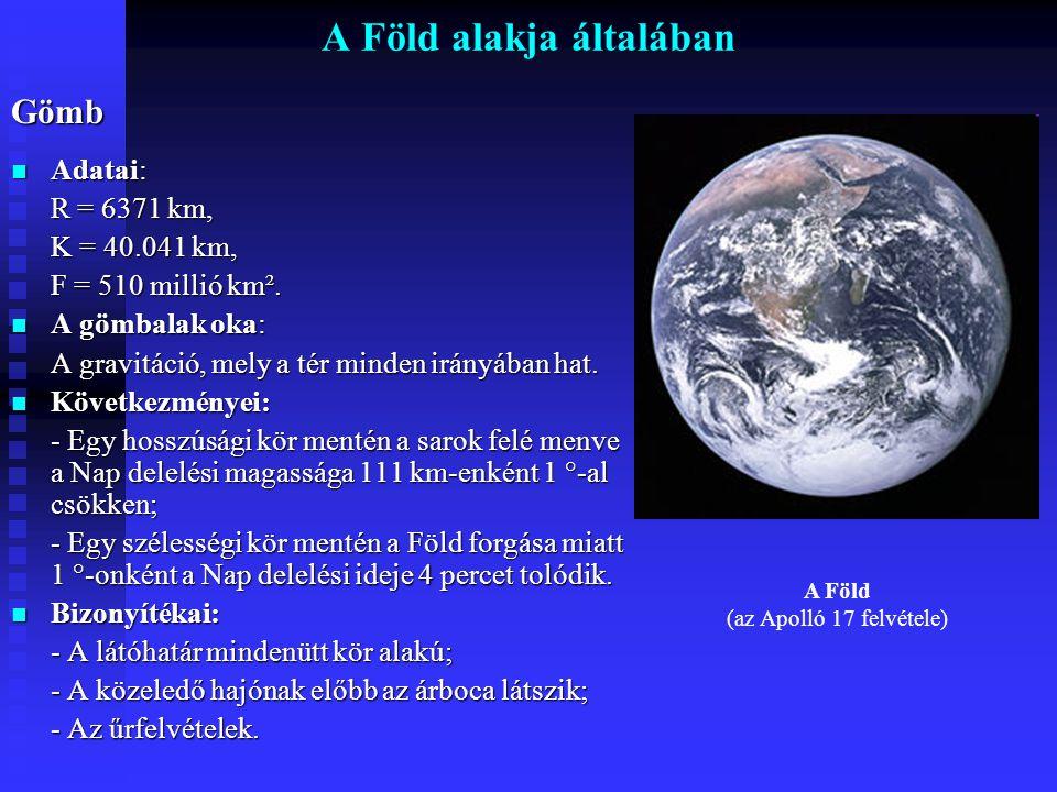 A Föld alakja általábanGömb Adatai: Adatai: R = 6371 km, K = 40.041 km, F = 510 millió km². A gömbalak oka: A gömbalak oka: A gravitáció, mely a tér m