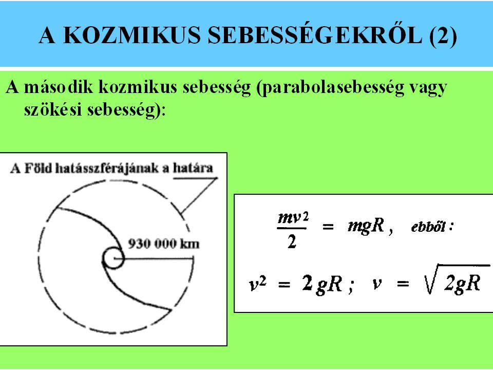 HARMADIK KOZMIKUS SEBESSÉG A harmadik kozmikus sebesség az a sebesség, amelyre ha fel- gyorsítjuk az űrobjektumot, az kijut a Nap hatásszférájának a határára (60 000 CSE).