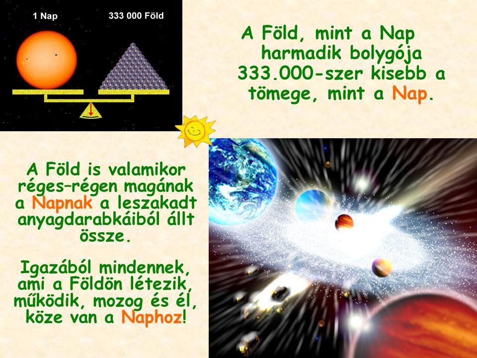 A Föld, mint a Nap harmadik bolygója 333.000-szer kisebb a tömege, mint a Nap. A Föld is valamikor réges–régen magának a Napnak a leszakadt anyagdarab