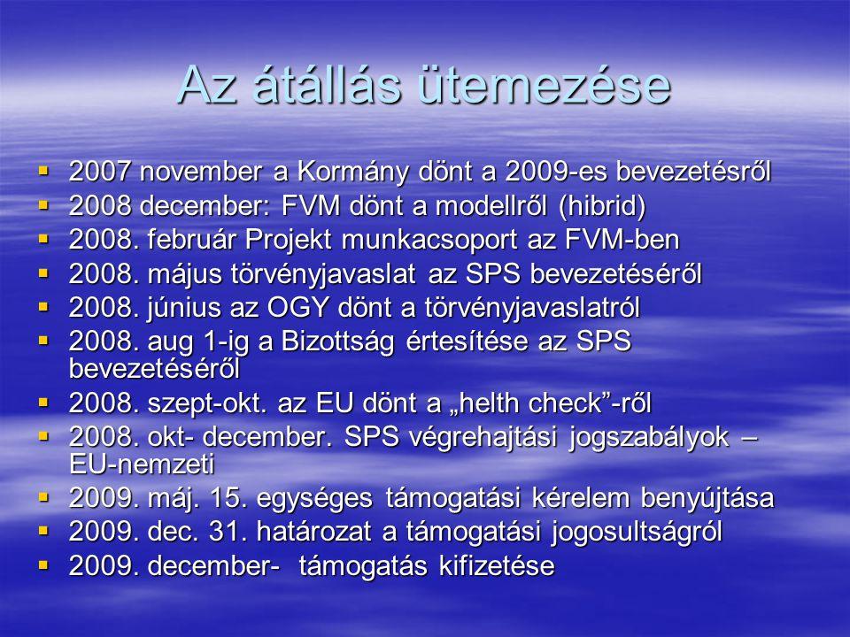 Az átállás ütemezése  2007 november a Kormány dönt a 2009-es bevezetésről  2008 december: FVM dönt a modellről (hibrid)  2008.