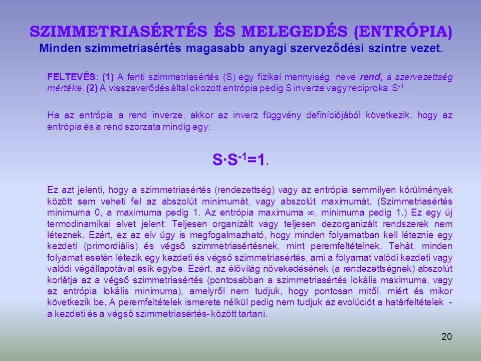 SZIMMETRIASÉRTÉS ÉS MELEGEDÉS (ENTRÓPIA) Minden szimmetriasértés magasabb anyagi szerveződési szintre vezet.