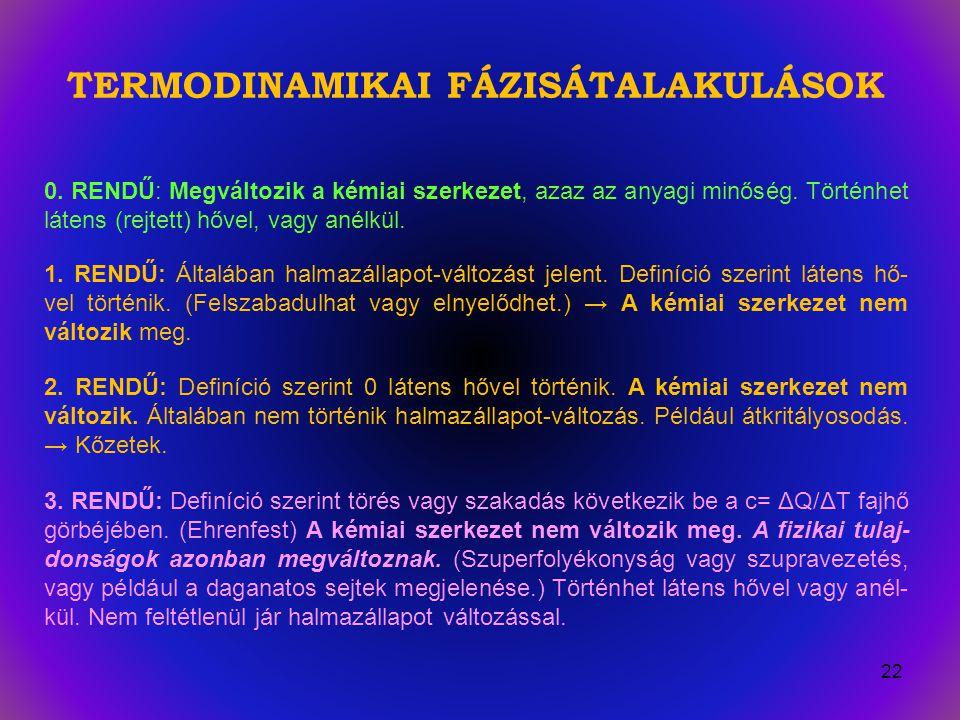 TERMODINAMIKAI FÁZISÁTALAKULÁSOK 0.RENDŰ: Megváltozik a kémiai szerkezet, azaz az anyagi minőség.