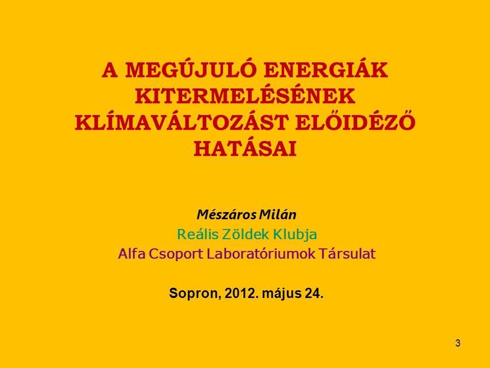A MEGÚJULÓ ENERGIÁK KITERMELÉSÉNEK KLÍMAVÁLTOZÁST ELŐIDÉZŐ HATÁSAI Mészáros Milán Reális Zöldek Klubja Alfa Csoport Laboratóriumok Társulat Sopron, 2012.