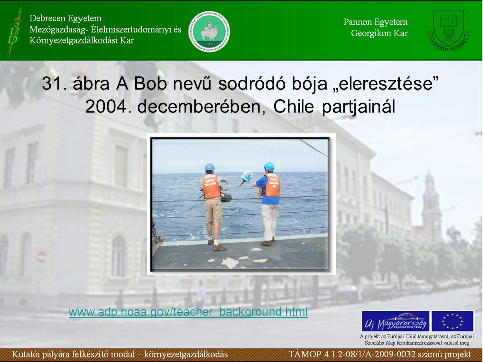 """31. ábra A Bob nevű sodródó bója """"eleresztése 2004."""