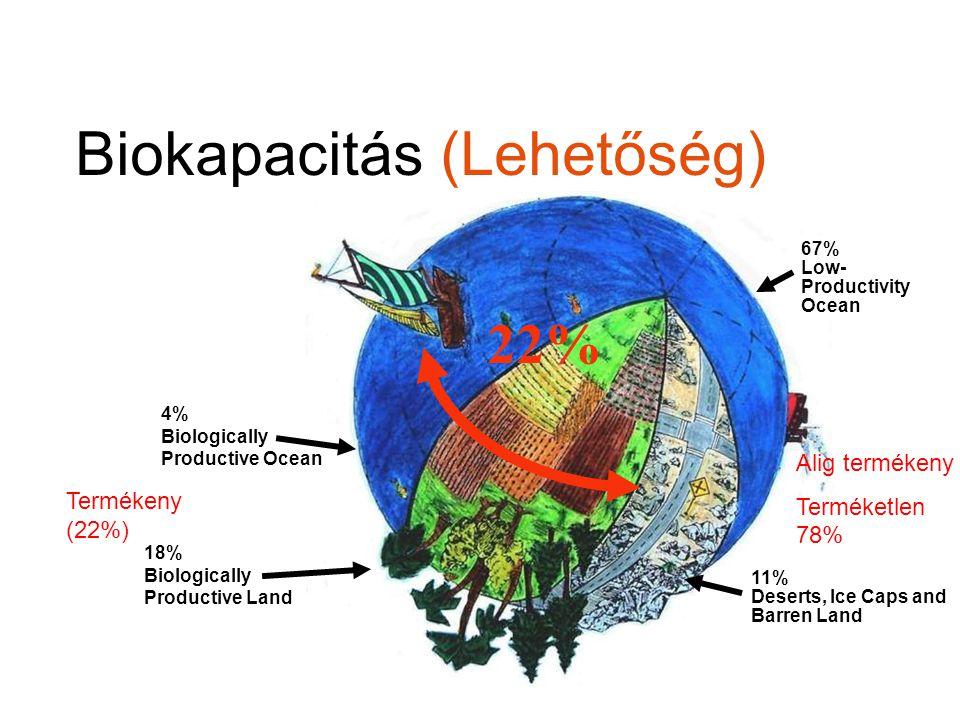 Lábnyom igényünk összetevői CARBON footprint M.Wackernagel előadásából World Science Forum, Budapest, 2009.