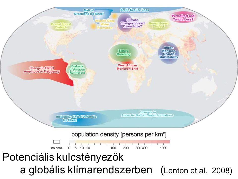 Az utolsó 30 év hőmérsékleti eltérése (szatellit mérések alapján) Vörös + Kék -