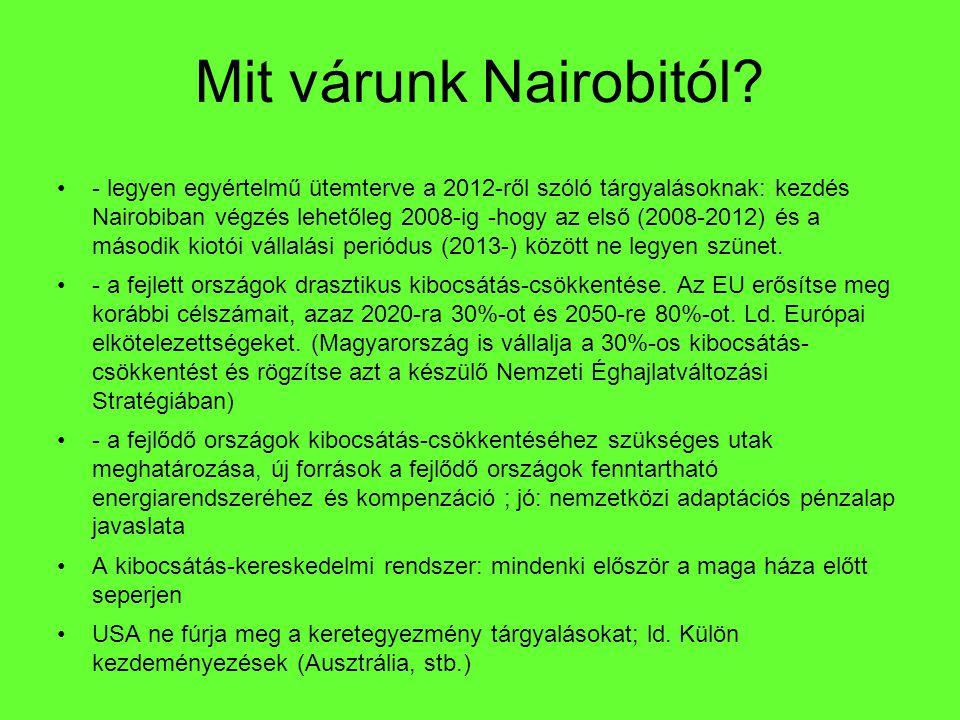 Mit várunk Nairobitól? - legyen egyértelmű ütemterve a 2012-ről szóló tárgyalásoknak: kezdés Nairobiban végzés lehetőleg 2008-ig -hogy az első (2008-2