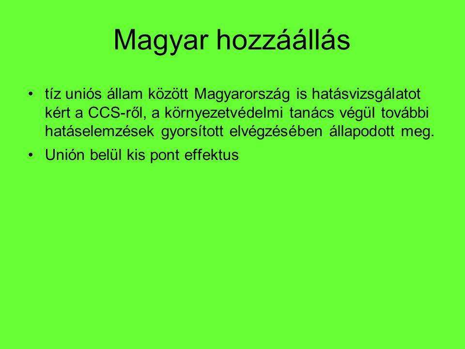 Magyar hozzáállás tíz uniós állam között Magyarország is hatásvizsgálatot kért a CCS-ről, a környezetvédelmi tanács végül további hatáselemzések gyors