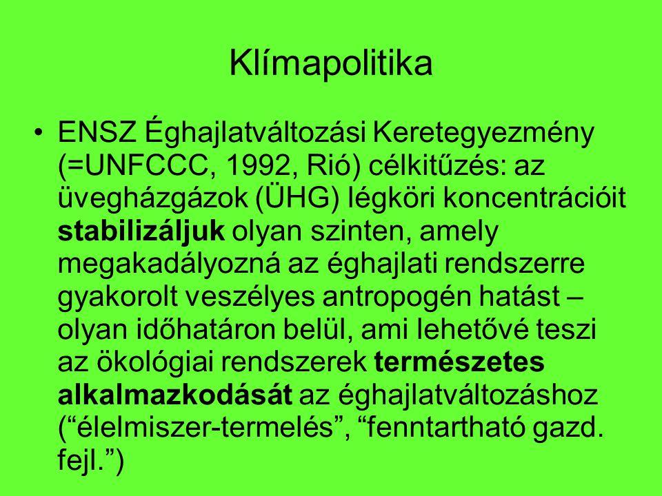 Klímapolitika ENSZ Éghajlatváltozási Keretegyezmény (=UNFCCC, 1992, Rió) célkitűzés: az üvegházgázok (ÜHG) légköri koncentrációit stabilizáljuk olyan