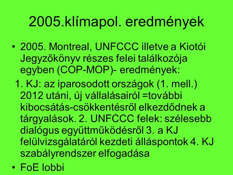 2005.klímapol. eredmények 2005. Montreal, UNFCCC illetve a Kiotói Jegyzőkönyv részes felei találkozója egyben (COP-MOP)- eredmények: 1. KJ: az iparoso