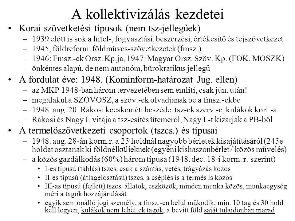 A kollektivizálás kezdetei Korai szövetketési típusok (nem tsz-jellegűek) –1939 előtt is sok a hitel-, fogyasztási, beszerzési, értékesítő és tejszöve
