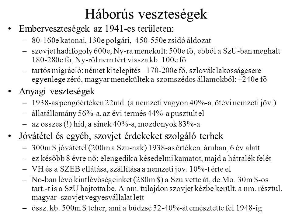 Háborús veszteségek Emberveszteségek az 1941-es területen: –80-160e katonai, 130e polgári, 450-550e zsidó áldozat –szovjet hadifogoly 600e, Ny-ra mene