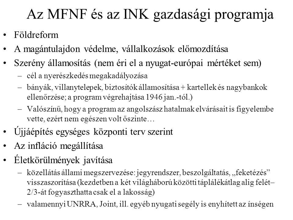 Az MFNF és az INK gazdasági programja Földreform A magántulajdon védelme, vállalkozások előmozdítása Szerény államosítás (nem éri el a nyugat-európai