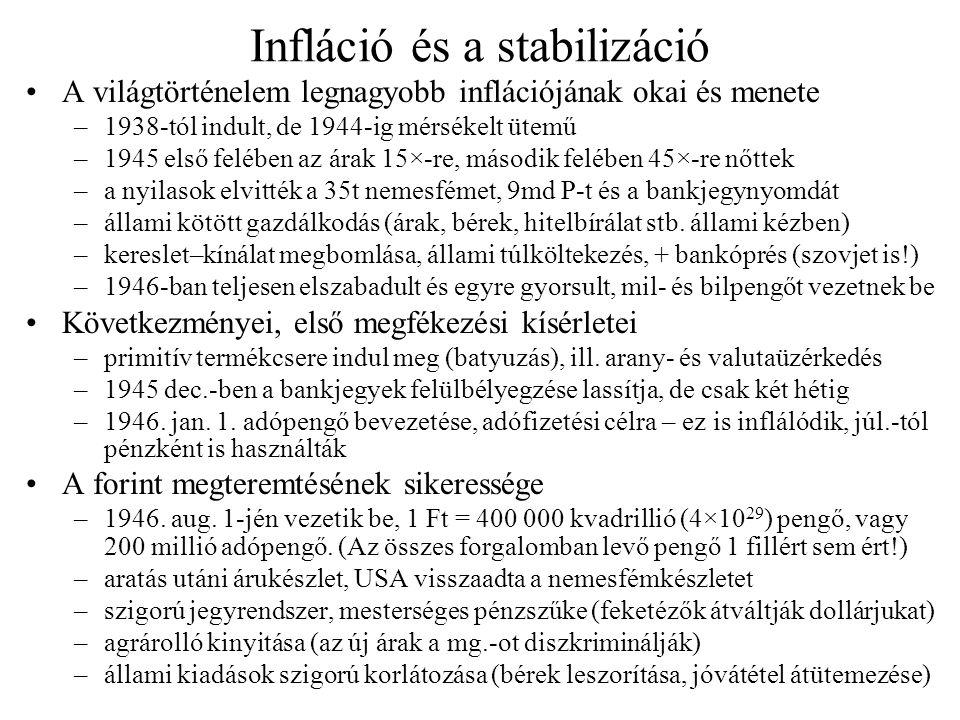 Infláció és a stabilizáció A világtörténelem legnagyobb inflációjának okai és menete –1938-tól indult, de 1944-ig mérsékelt ütemű –1945 első felében a