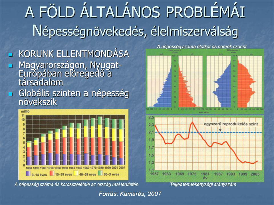 A FÖLD ÁLTALÁNOS PROBLÉMÁI N épességnövekedés, élelmiszerválság KORUNK ELLENTMONDÁSA KORUNK ELLENTMONDÁSA Magyarországon, Nyugat- Európában elöregedő