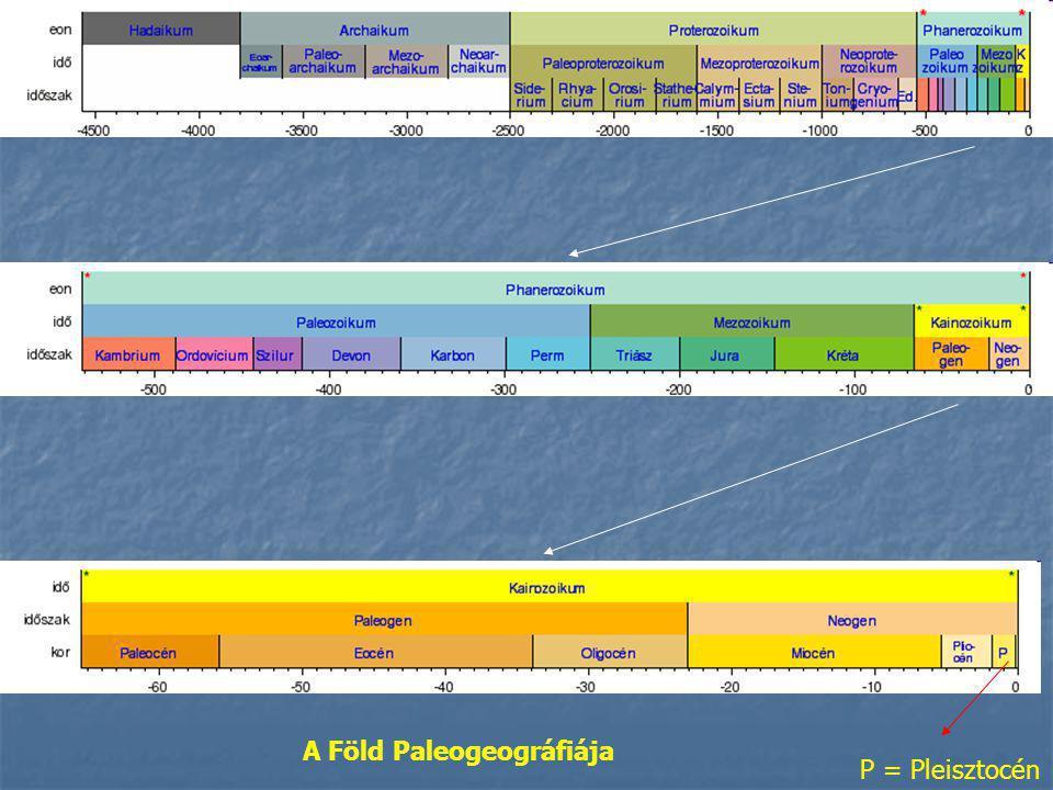 A Föld Paleogeográfiája P = Pleisztocén