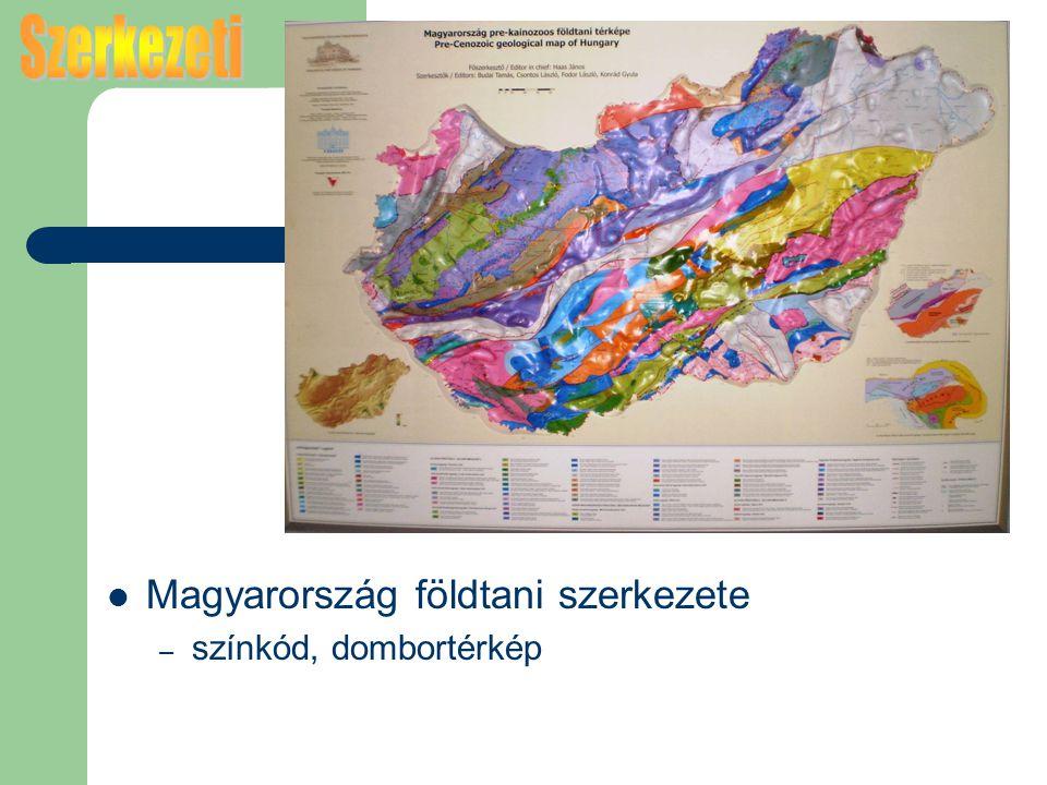 Magyarország földtani szerkezete – színkód, dombortérkép