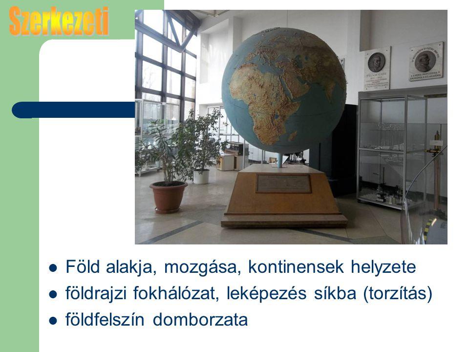 Föld alakja, mozgása, kontinensek helyzete földrajzi fokhálózat, leképezés síkba (torzítás) földfelszín domborzata