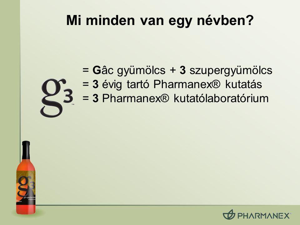 = Gâc gyümölcs + 3 szupergyümölcs = 3 évig tartó Pharmanex® kutatás = 3 Pharmanex® kutatólaboratórium Mi minden van egy névben?