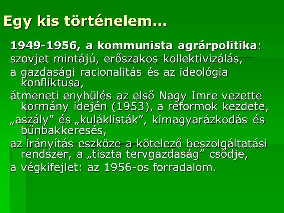 Egy kis történelem… 1949-1956, a kommunista agrárpolitika: szovjet mintájú, erőszakos kollektivizálás, a gazdasági racionalitás és az ideológia konfli