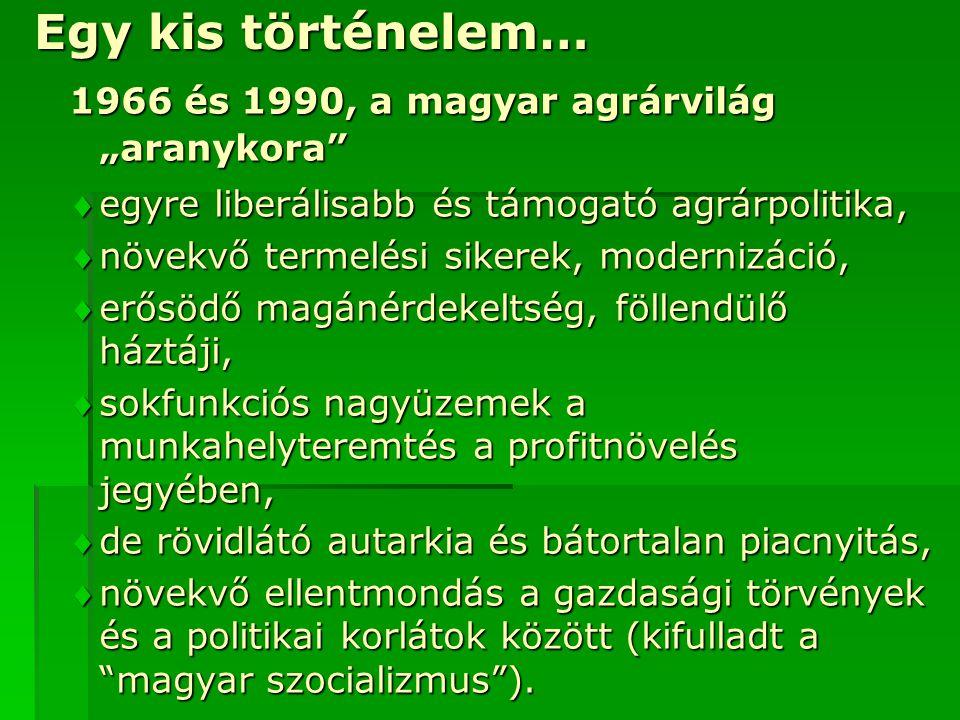 """Egy kis történelem… 1966 és 1990, a magyar agrárvilág """"aranykora"""" egyre liberálisabb és támogató agrárpolitika, növekvő termelési sikerek, modernizá"""