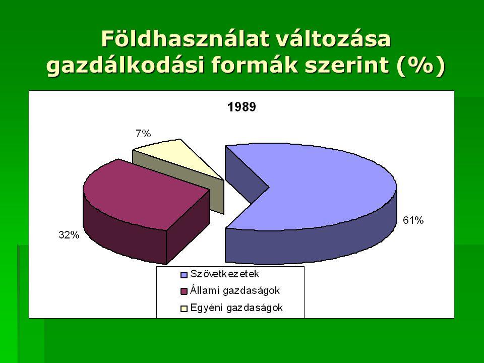 Földhasználat változása gazdálkodási formák szerint (%)