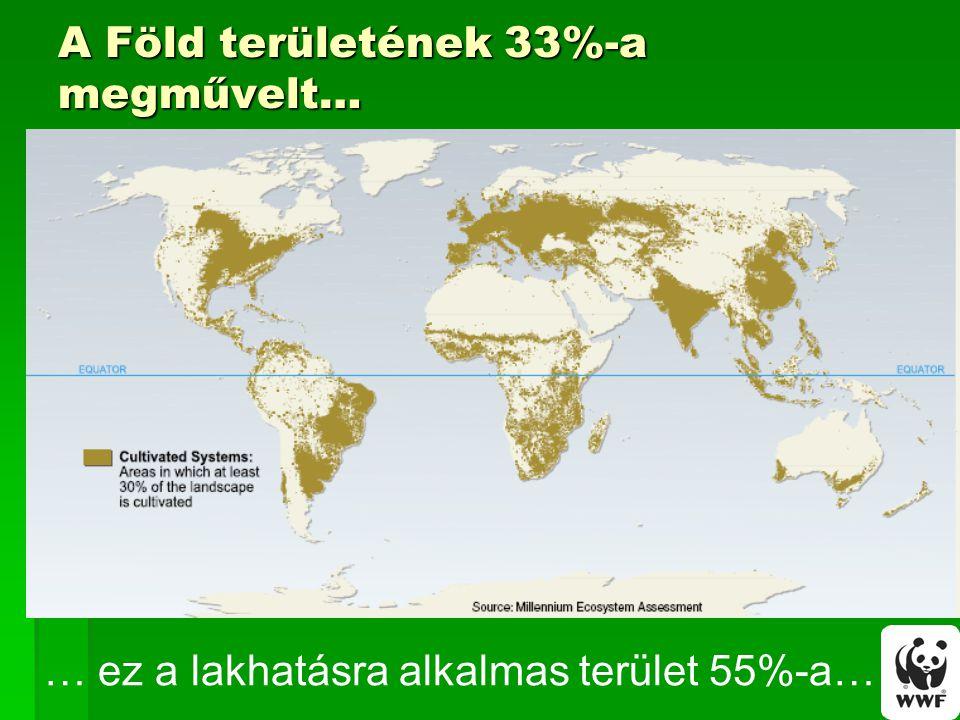 A Föld területének 33%-a megművelt… … ez a lakhatásra alkalmas terület 55%-a…