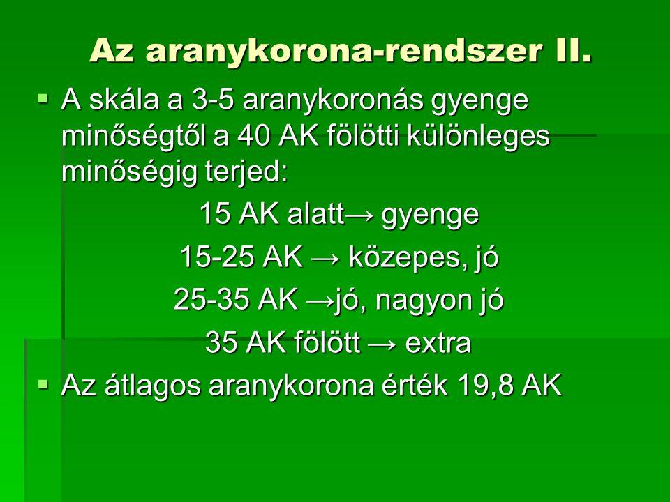 Az aranykorona-rendszer II.  A skála a 3-5 aranykoronás gyenge minőségtől a 40 AK fölötti különleges minőségig terjed: 15 AK alatt→ gyenge 15-25 AK →