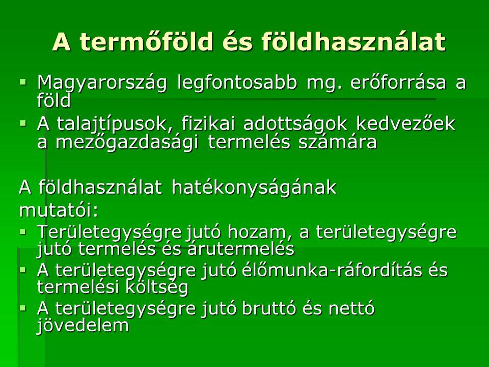 A termőföld és földhasználat  Magyarország legfontosabb mg. erőforrása a föld  A talajtípusok, fizikai adottságok kedvezőek a mezőgazdasági termelés