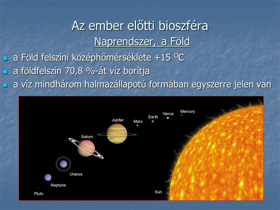 Az ember előtti bioszféra Naprendszer, a Föld a Föld felszíni középhőmérséklete +15 O C a Föld felszíni középhőmérséklete +15 O C a földfelszín 70,8 %-át víz borítja a földfelszín 70,8 %-át víz borítja a víz mindhárom halmazállapotú formában egyszerre jelen van a víz mindhárom halmazállapotú formában egyszerre jelen van