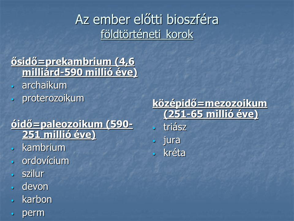 Az ember előtti bioszféra földtörténeti korok ősidő=prekambrium (4,6 milliárd-590 millió éve) archaikum archaikum proterozoikum proterozoikum óidő=paleozoikum (590- 251 millió éve) kambrium kambrium ordovícium ordovícium szilur szilur devon devon karbon karbon perm perm középidő=mezozoikum (251-65 millió éve) triász triász jura jura kréta kréta