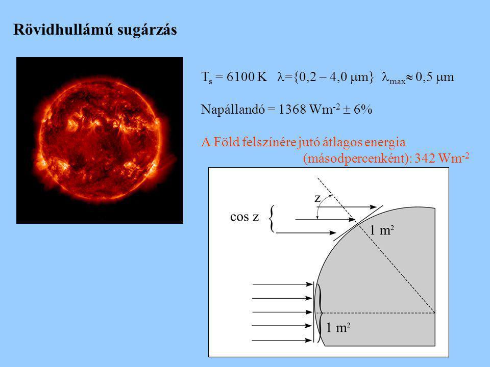 T s = 6100 K ={0,2 – 4,0  m} max  0,5  m Napállandó = 1368 Wm -2  6% A Föld felszínére jutó átlagos energia (másodpercenként): 342 Wm -2 Rövidhull