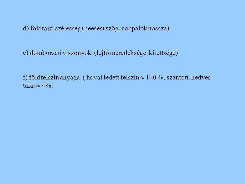 d) földrajzi szélesség (beesési szög, nappalok hossza) e) domborzati viszonyok (lejtő meredeksége, kitettsége) f) földfelszín anyaga ( hóval fedett fe