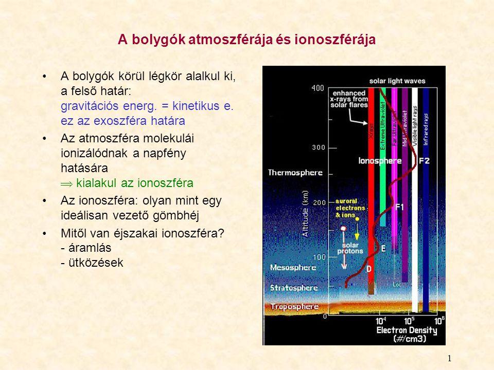 1 A bolygók atmoszférája és ionoszférája A bolygók körül légkör alalkul ki, a felső határ: gravitációs energ. = kinetikus e. ez az exoszféra határa Az