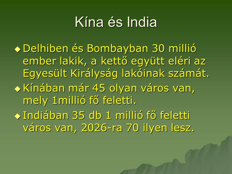 Kína és India  Delhiben és Bombayban 30 millió ember lakik, a kettő együtt eléri az Egyesült Királyság lakóinak számát.  Kínában már 45 olyan város