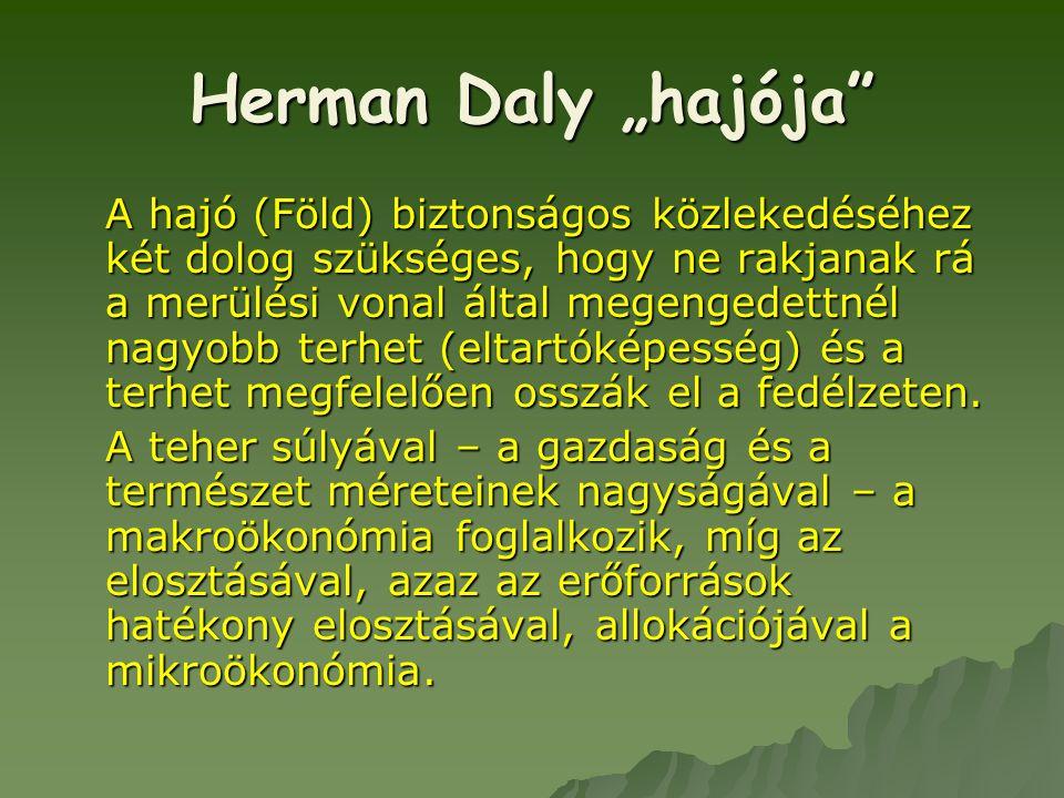 """Herman Daly """"hajója"""" A hajó (Föld) biztonságos közlekedéséhez két dolog szükséges, hogy ne rakjanak rá a merülési vonal által megengedettnél nagyobb t"""